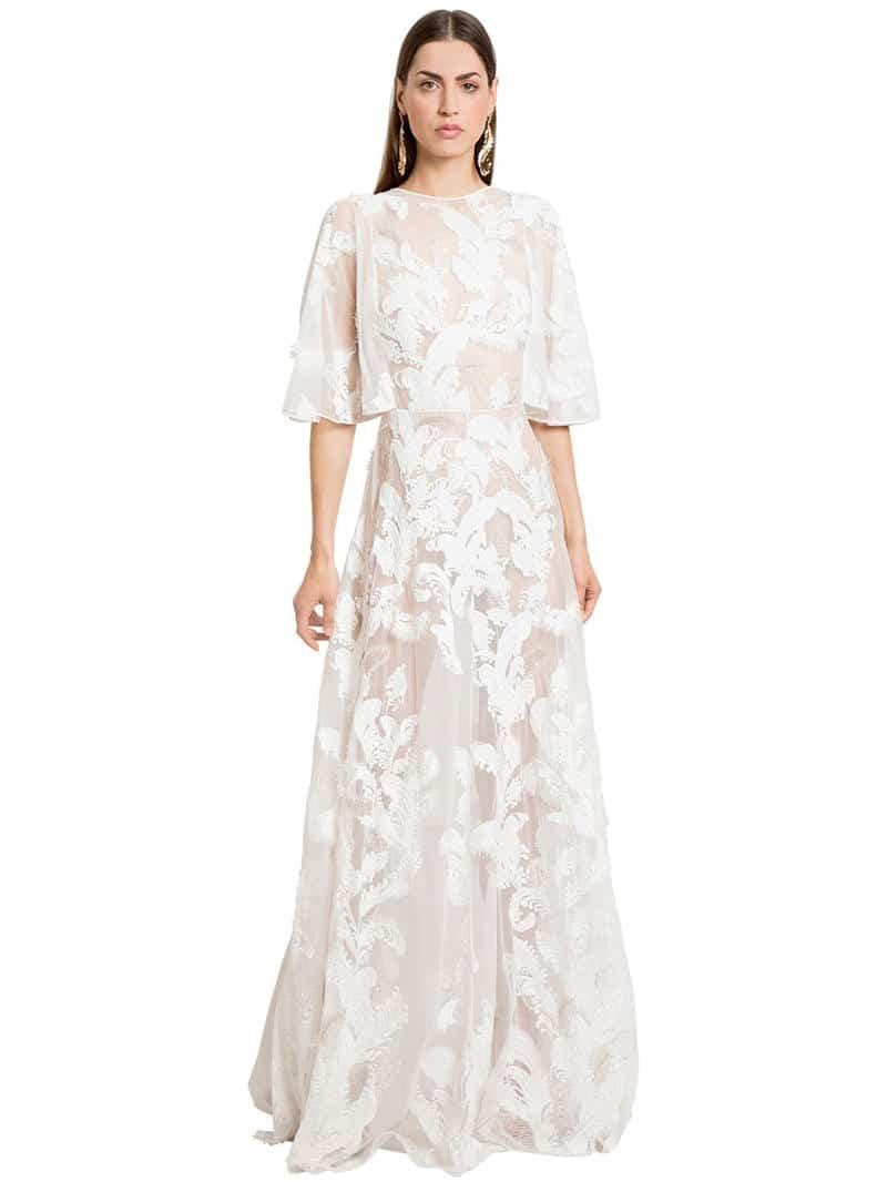 8d8d97283 ZUHAIR MURAD Embellished Tulle Long White Dress - We Select Dresses