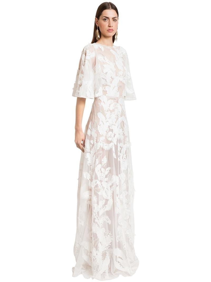 ZUHAIR MURAD Embellished Tulle Long White Dress - We Select Dresses