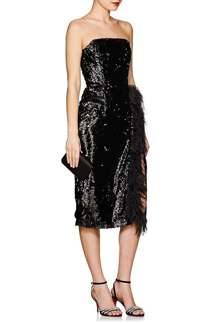 16ARLINGTON Feather-Embellished Sequined Strapless Black Dress - We ...