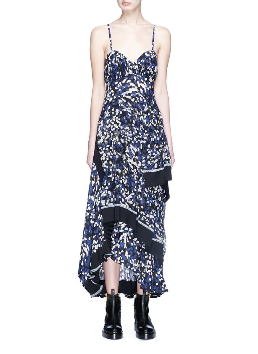 303d580d9fa 3.1 PHILLIP LIM Brushstroke Print Asymmetric Tiered Silk Crepe Multi  Colored Dress