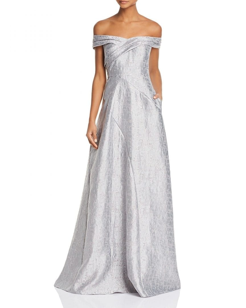 AIDAN MATTOX Off The Shoulder Silver Gown
