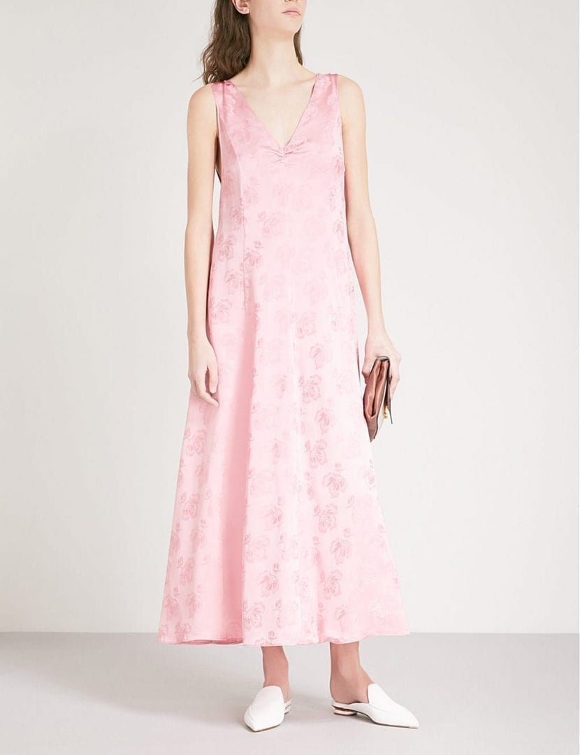 ALEXACHUNG Floral Jacquard Coral Pink Dress - We Select Dresses