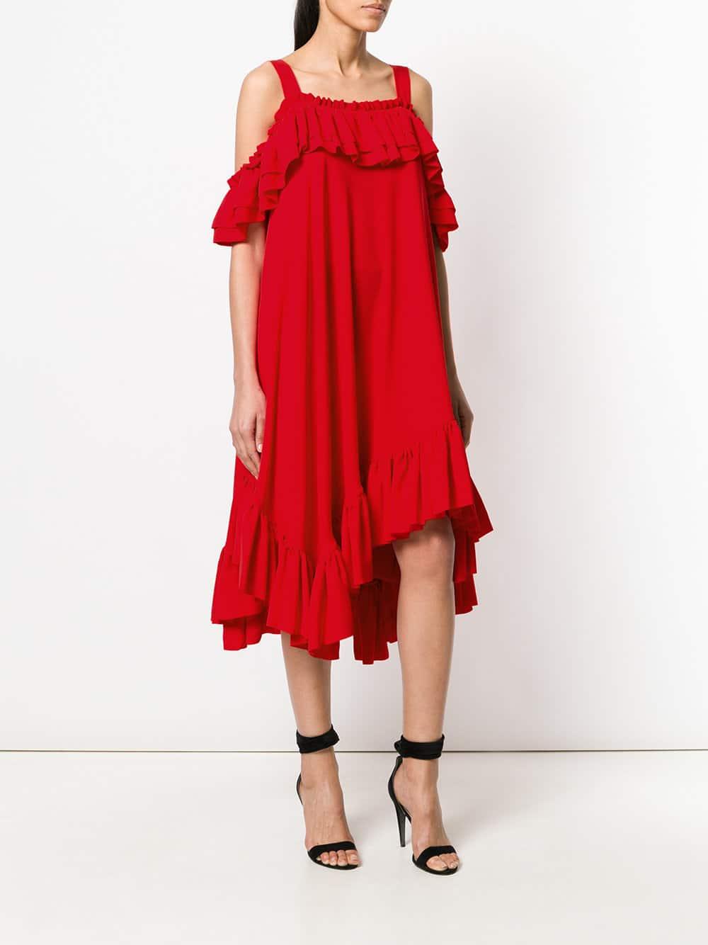 ALEXANDER MCQUEEN Off-shoulder Asymmetric Ruffle Red Dress