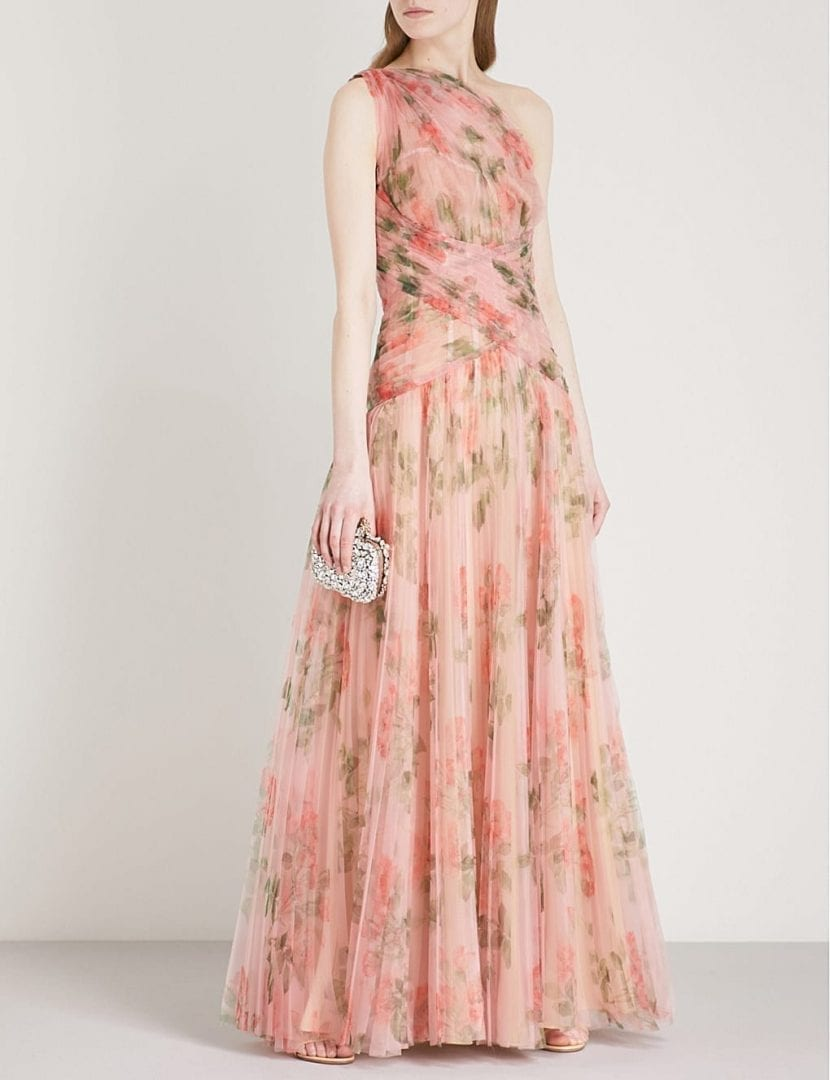 ALEXANDER MCQUEEN One Shoulder Pleated Organza Pink Gown - We Select ...