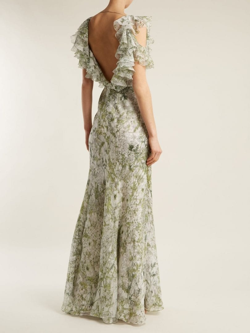 ALEXANDER MCQUEEN Silk Green / Floral Printed Dress - We Select Dresses