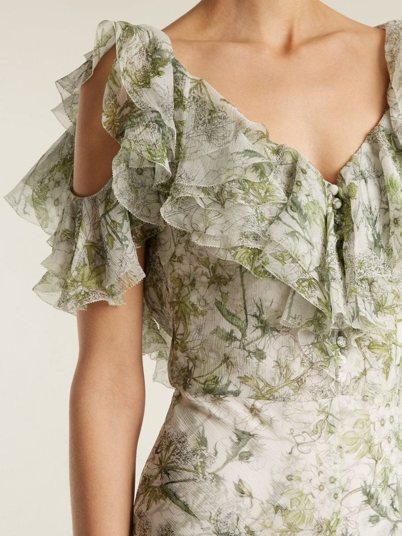 Alexander Mcqueen Silk Green Floral Printed Dress We