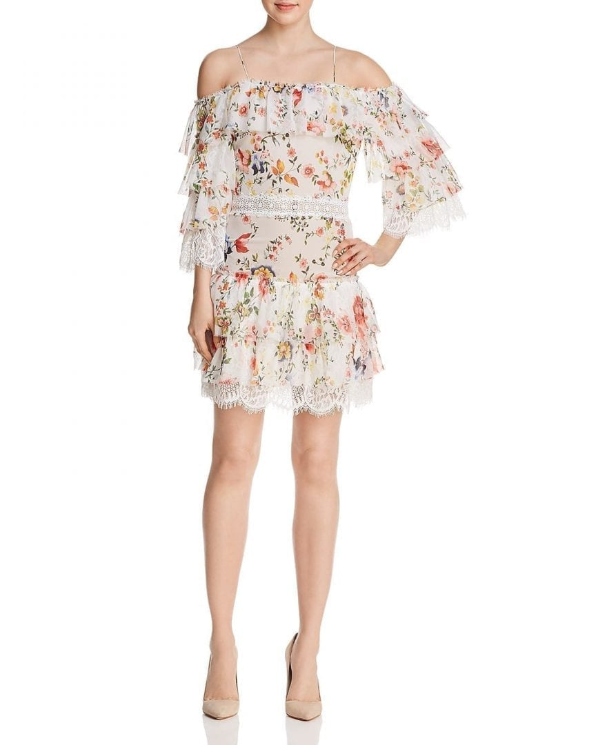 ALICE AND OLIVIA Santos Tiered Cold-Shoulder Floral Soiree White ...