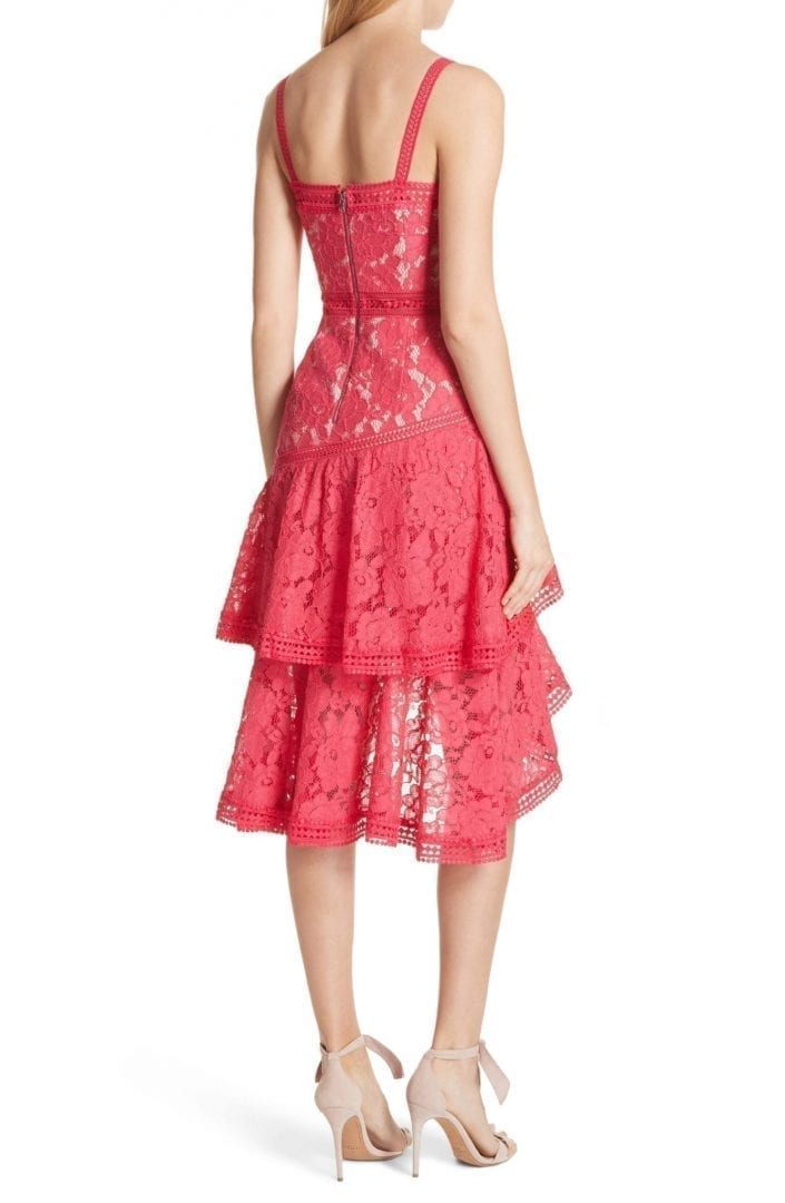 Alice Olivia Lace Asymmetrical Watermelon Dress