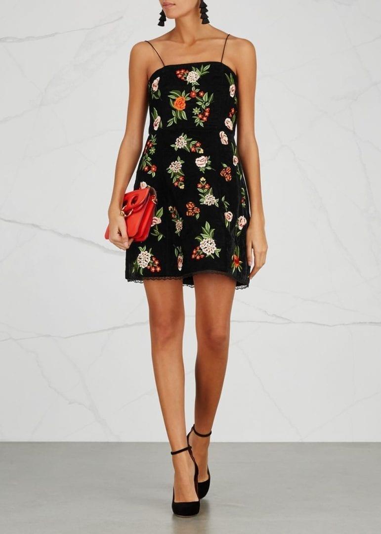 ALICE + OLIVIA Launa Floral-embroidered Velvet Black Dress