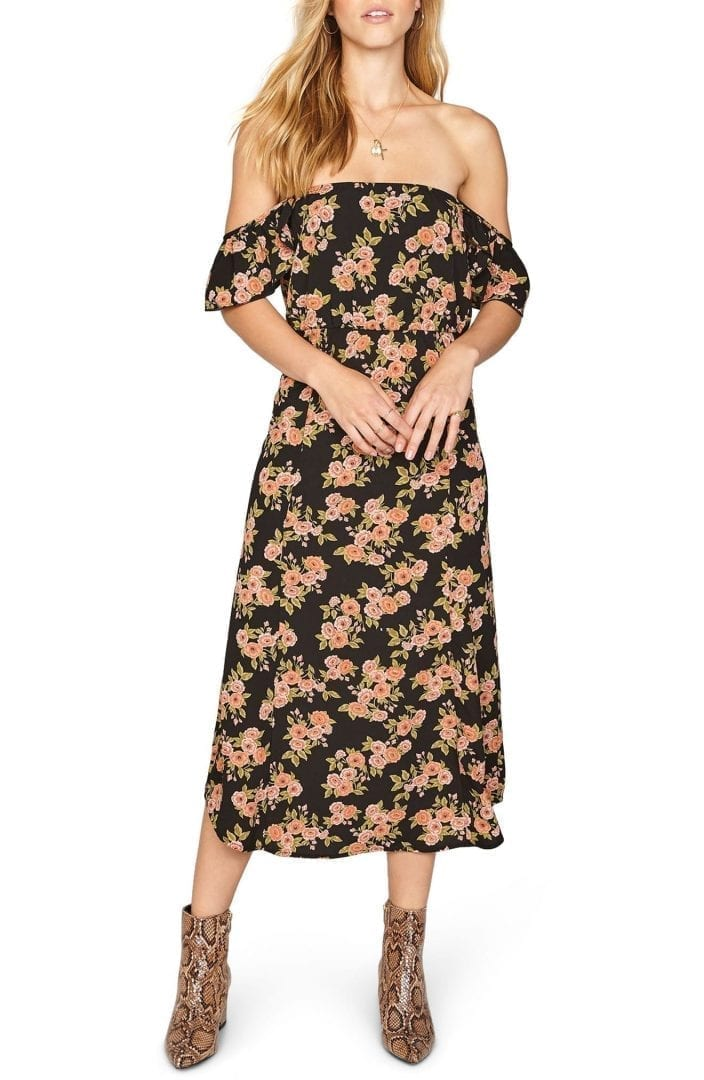 65e34a5a3984 AMUSE SOCIETY Sweeter Than You Off the Shoulder Midi Black   Sands Dress
