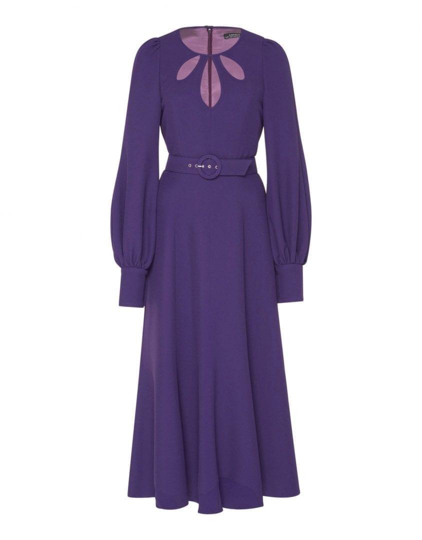 ANDREW GN Belted Midi Violet Dress