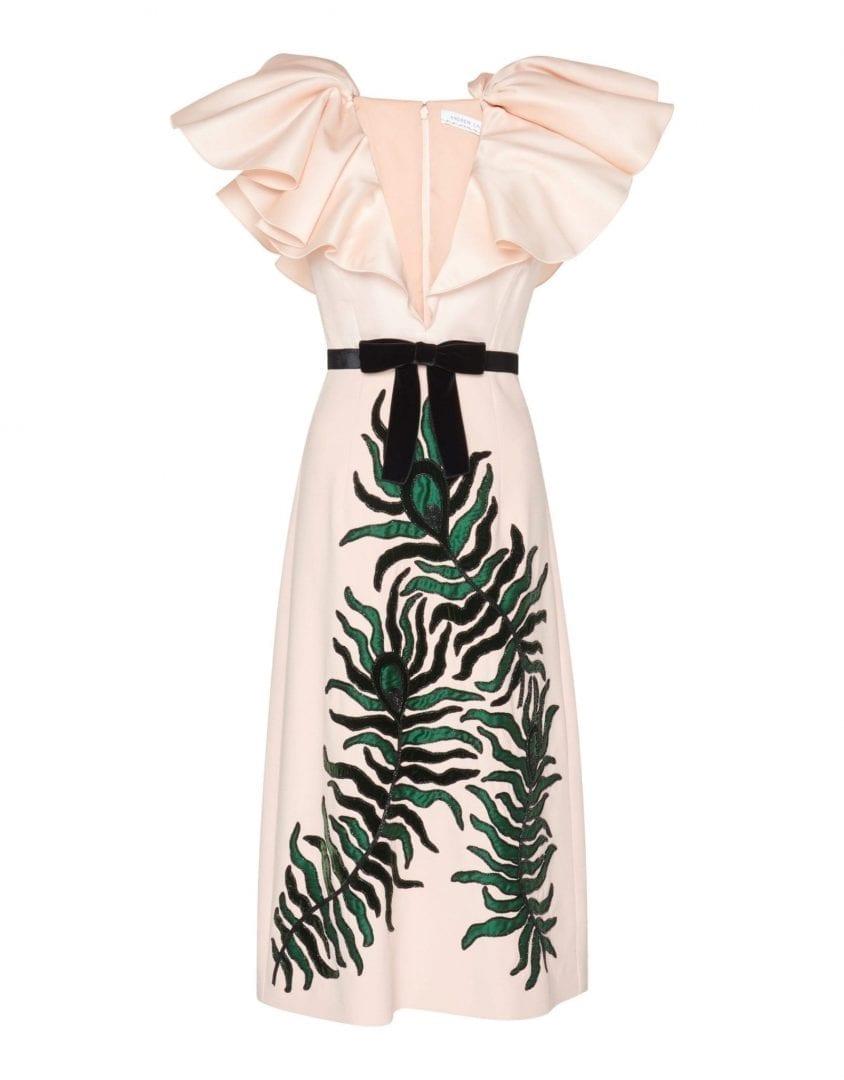 ANDREW GN Ruffle Midi Powder Pink Dress