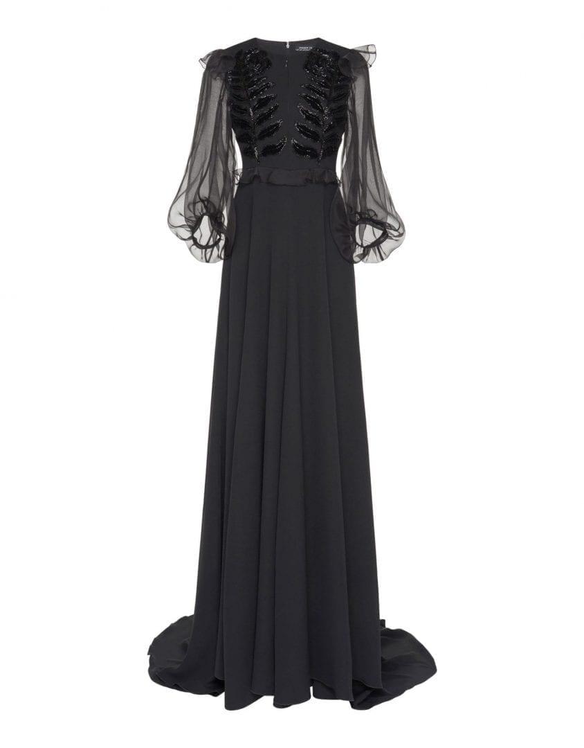 ANDREW GN Silk A-Line Black Dress
