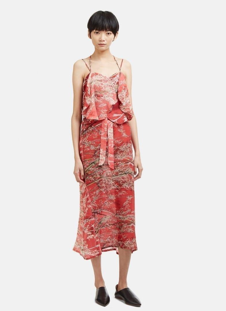 Floral Print Strap Silk Dress Anntian PWW6Qt9wjC