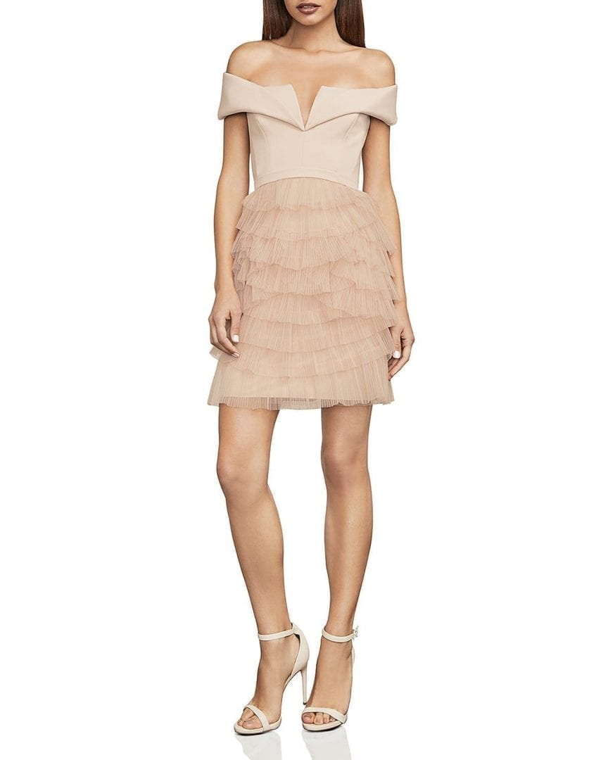 BCBGMAXAZRIA Marquise Ruffled Off-the-Shoulder Bare Pink Dress - We ...