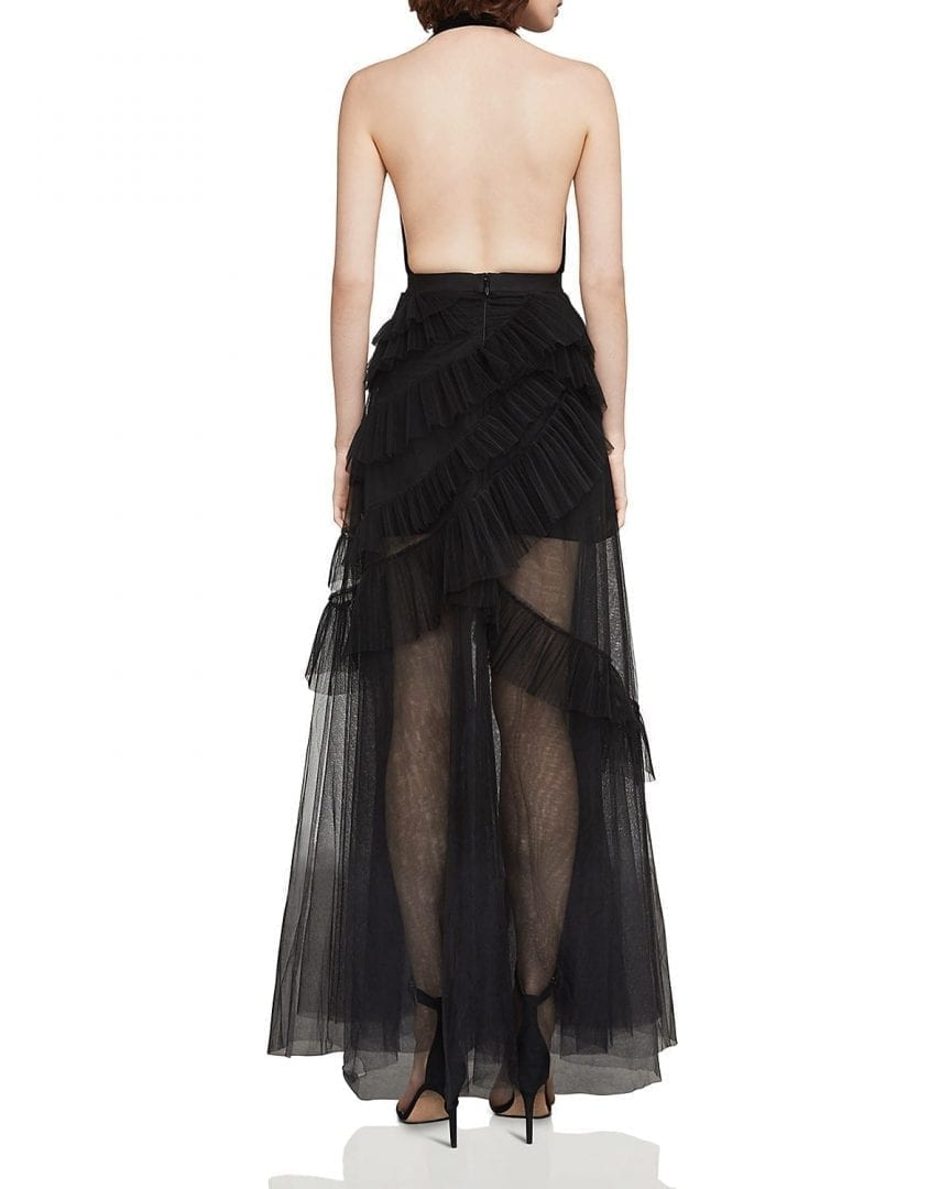 BCBGMAXAZRIA Plunging Illusion Black Gown - We Select Dresses