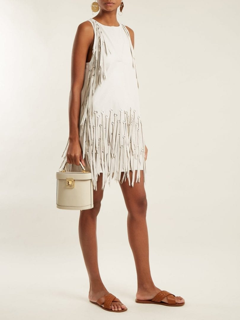 BOTTEGA VENETA Ring Embellished Fringed Leather Ecru White Dress
