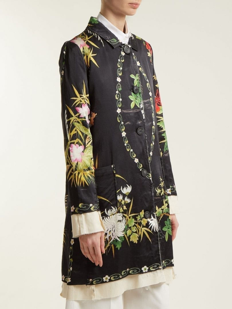 BY WALID Martha Wisteria Print Satin Coat