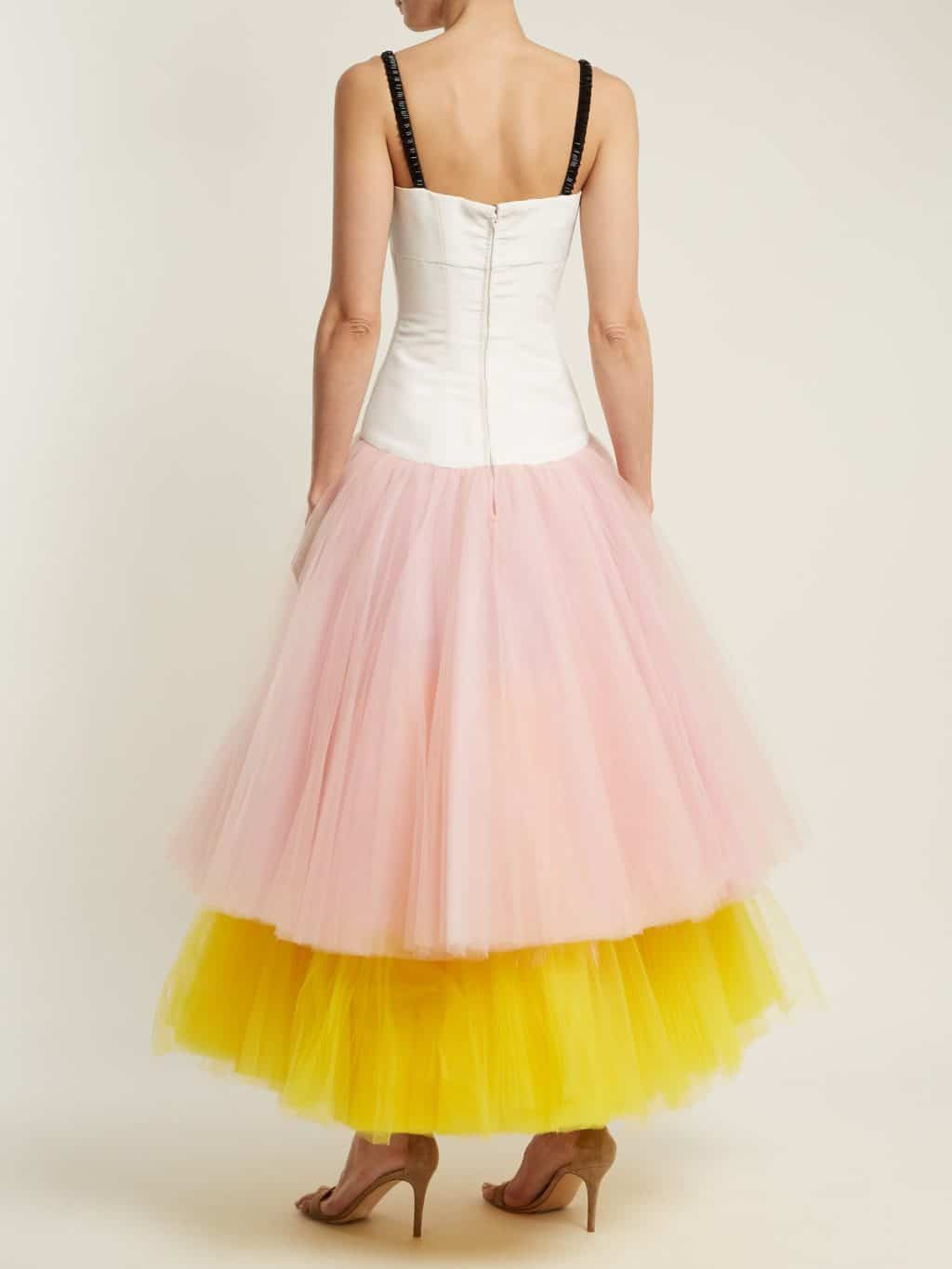 9d7332b2f66d CAROLINA HERRERA Contrasting Tiered Multicolored Dress - We Select ...