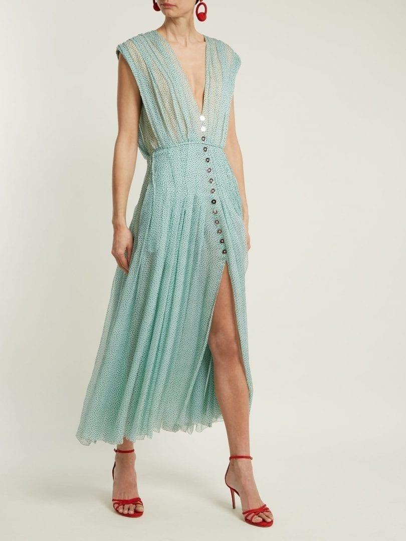Carolina Herrera Polka Dot Print V Neck Silk Chiffon Mint Green Dress