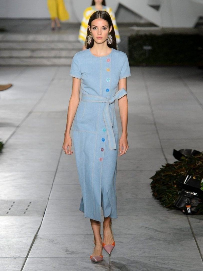 Carolina Herrera Round Neck A Line Cotton Denim Powder Blue Dress