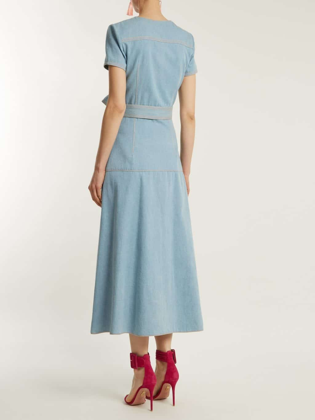 Carolina Herrera Round Neck A Line Cotton Denim Powder Blue Dress