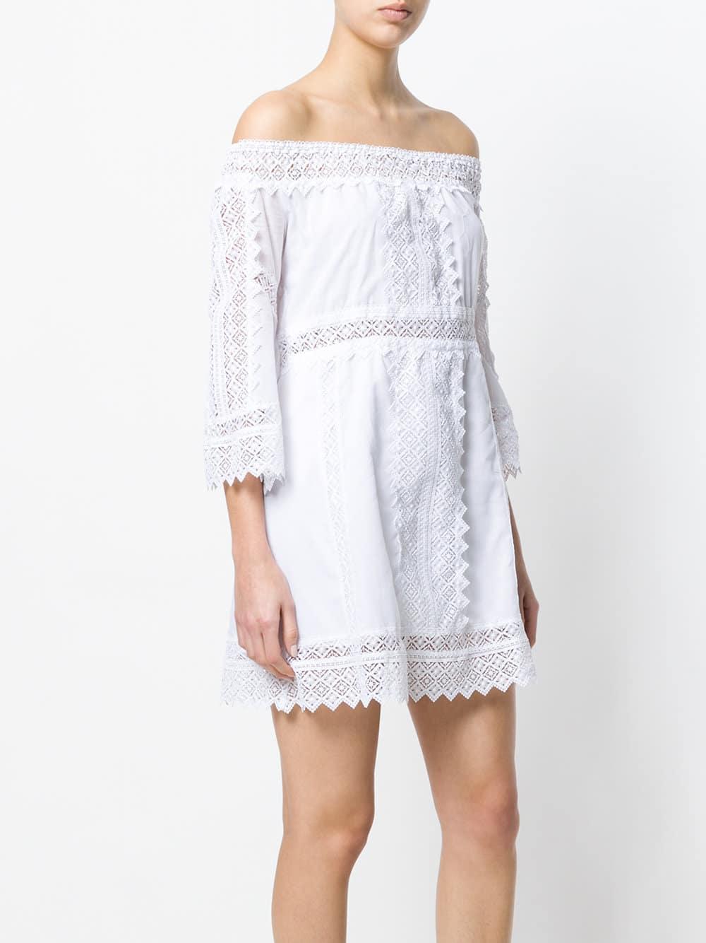 CHARO RUIZ Off Shoulder Lace Detail White Dress