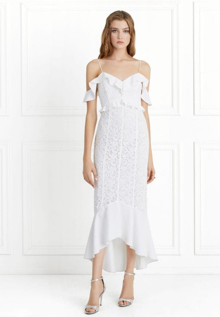 CHLOE Off-the-Shoulder Garden Lace Ecru Dress