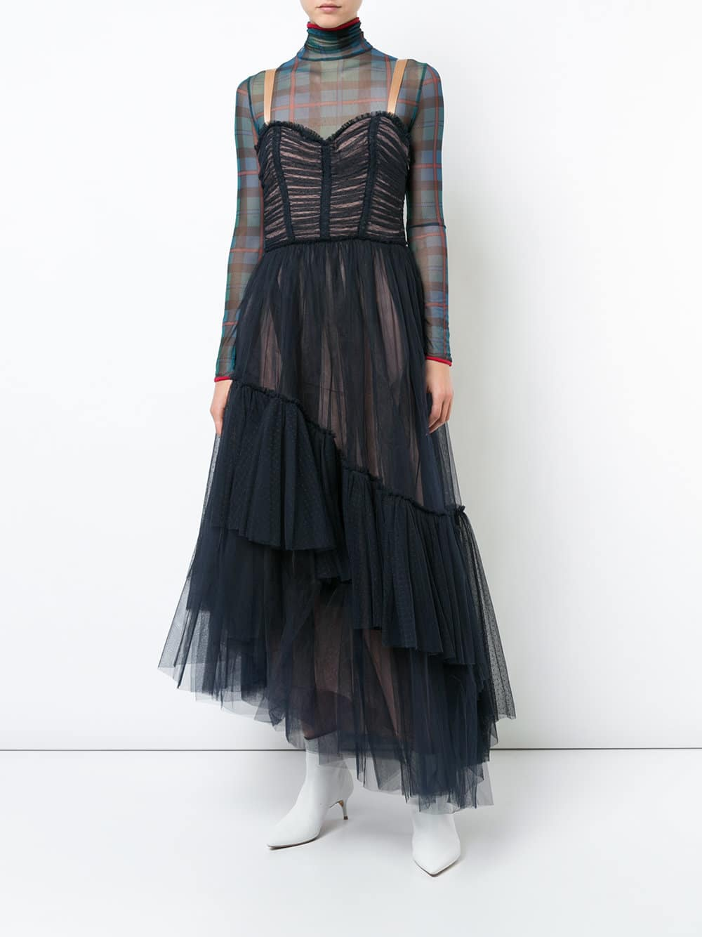 CINQ A SEPT Asymmetric Layered Tulle Navy Gown