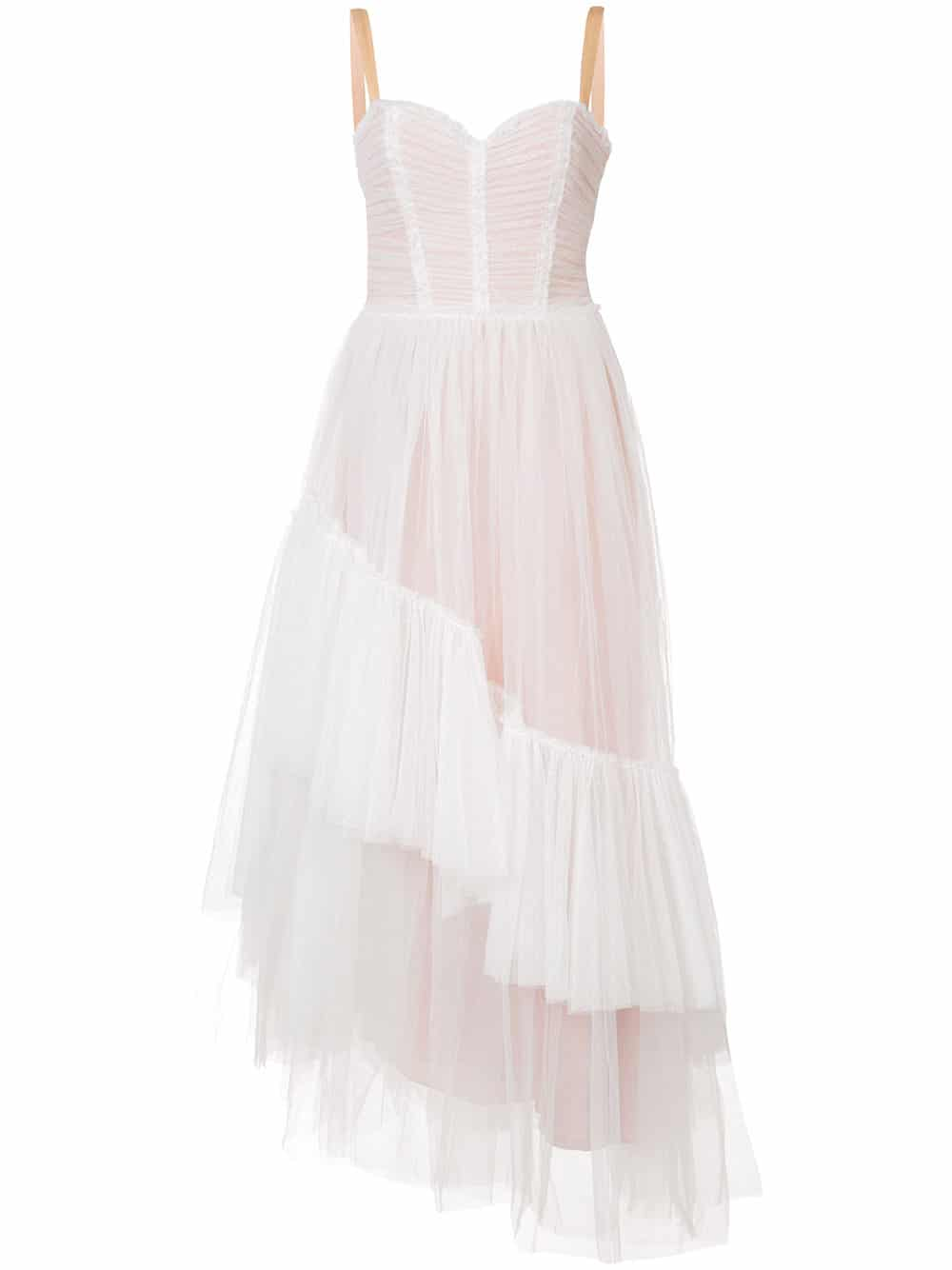 CINQ A SEPT Tulle Layered Asymmetric Ivory Dress