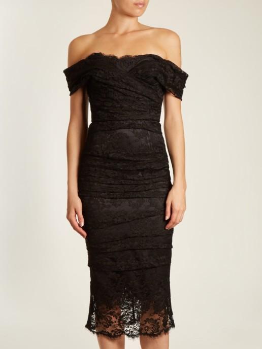 1f80fe8434a DOLCE   GABBANA Off The Shoulder Chantilly Lace Midi Black Dress