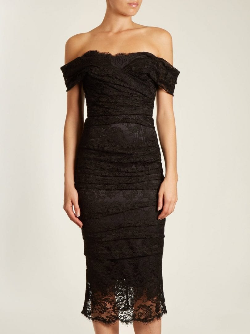 8e9f78a72d3 DOLCE   GABBANA Off The Shoulder Chantilly Lace Midi Black Dress ...