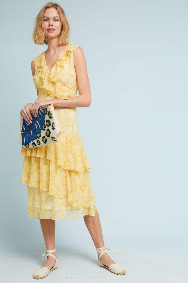 DRA Sunny Days Ruffled Yellow Motif Dress
