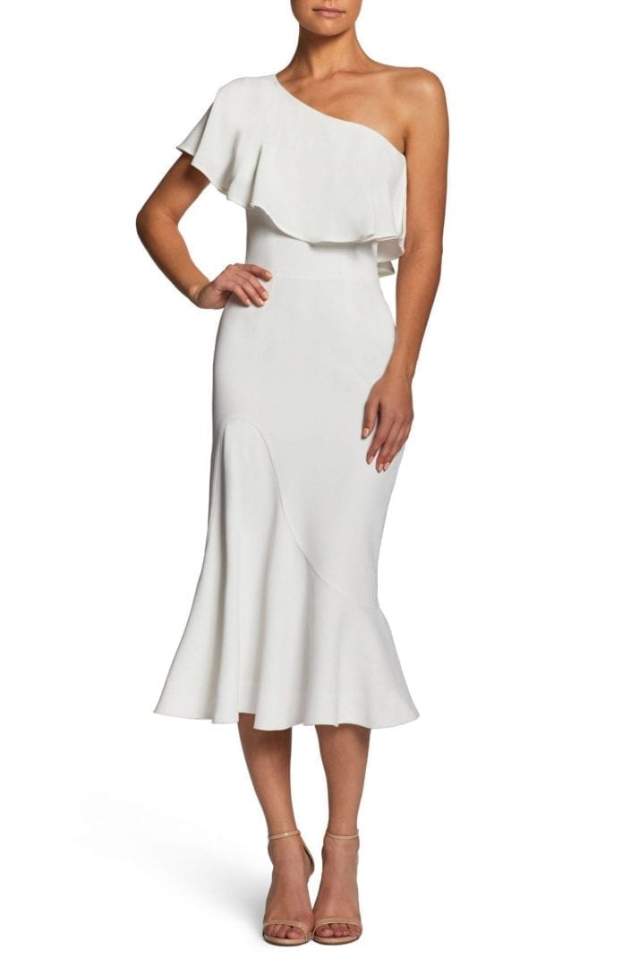 5576c50ce794 DRESS THE POPULATION Raquel One-Shoulder Trumpet Off White Dress ...