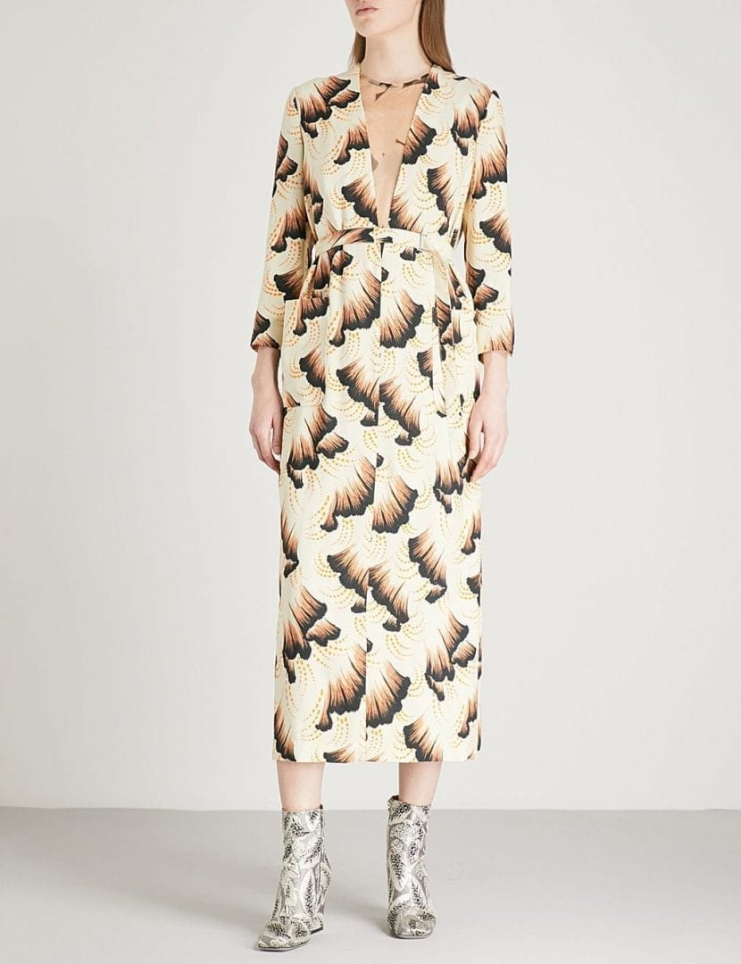 Dries Van Noten Drone Crepe Midi Ecru Dress