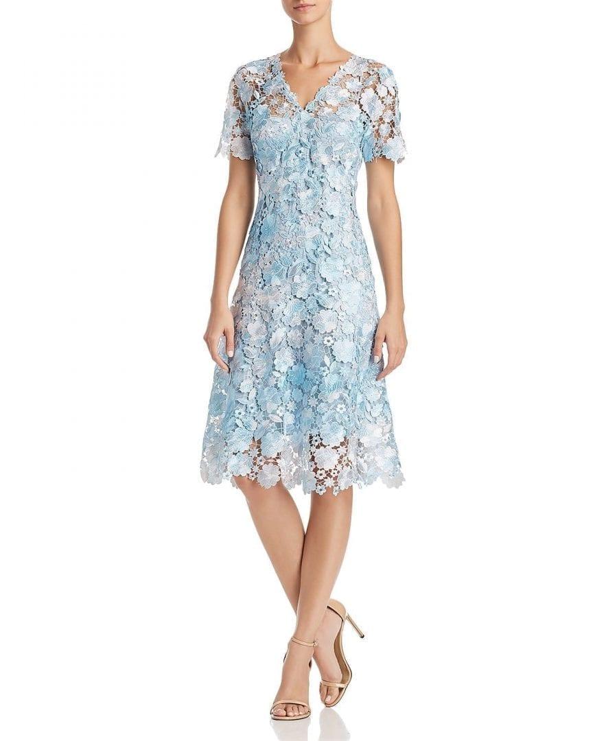 ELIE TAHARI Samari Lace Fit-and-Flare Stratus Dress