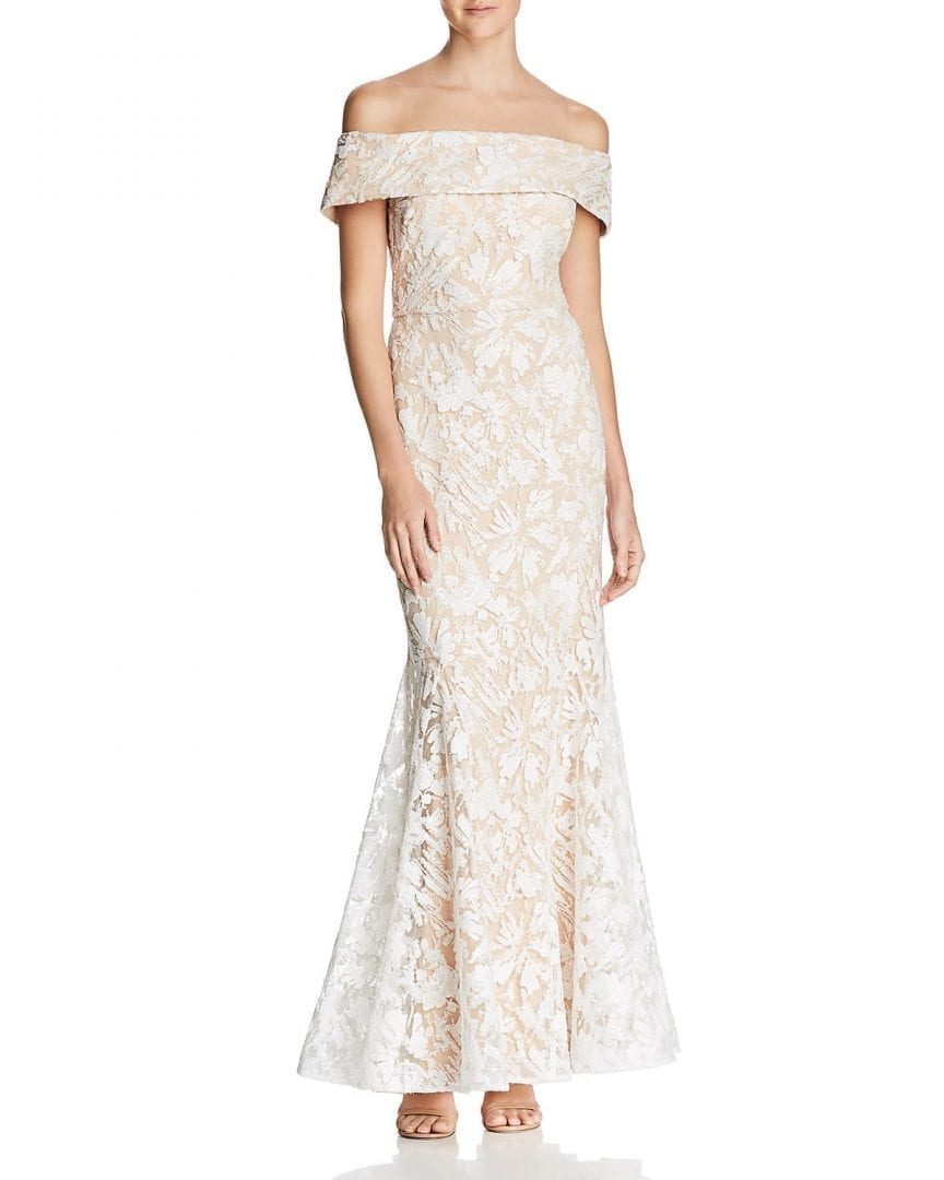 ELIZA J Off The Shoulder Sequined Ivory Gown