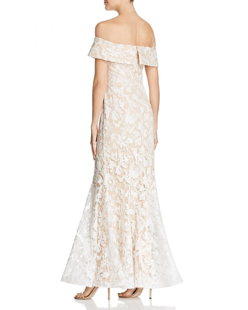 ELIZA J Off The Shoulder Sequined Ivory Cream Gown - We Select Dresses