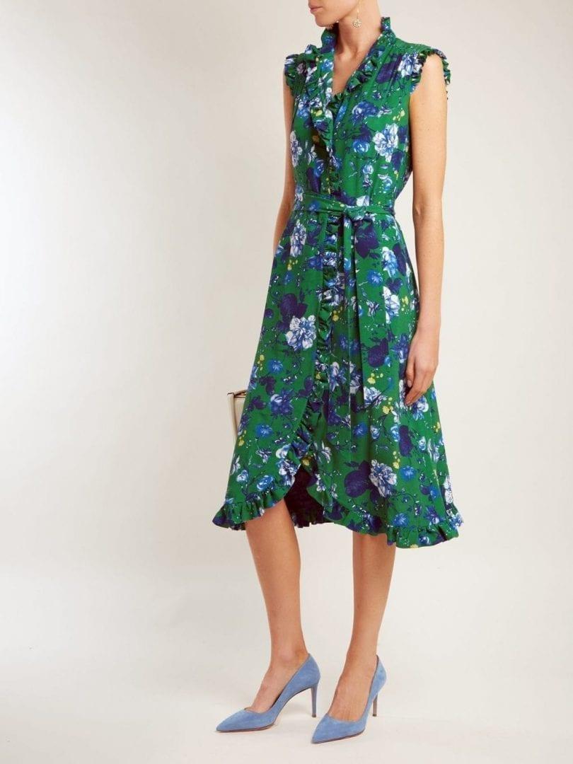 bca41fd24385 ERDEM Sebla Crepe Emerald Green   Floral Printed Dress - We Select ...