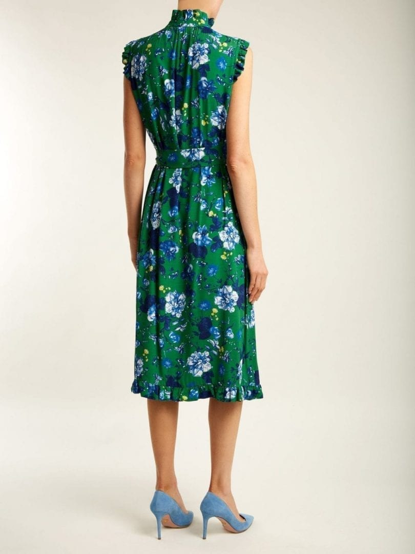 erdem sebla crepe emerald green floral printed dress