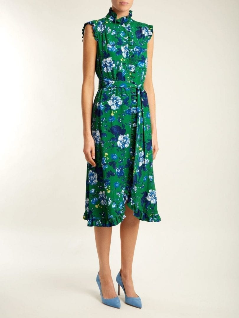 ERDEM Sebla Crepe Emerald Green / Floral Printed Dress ...