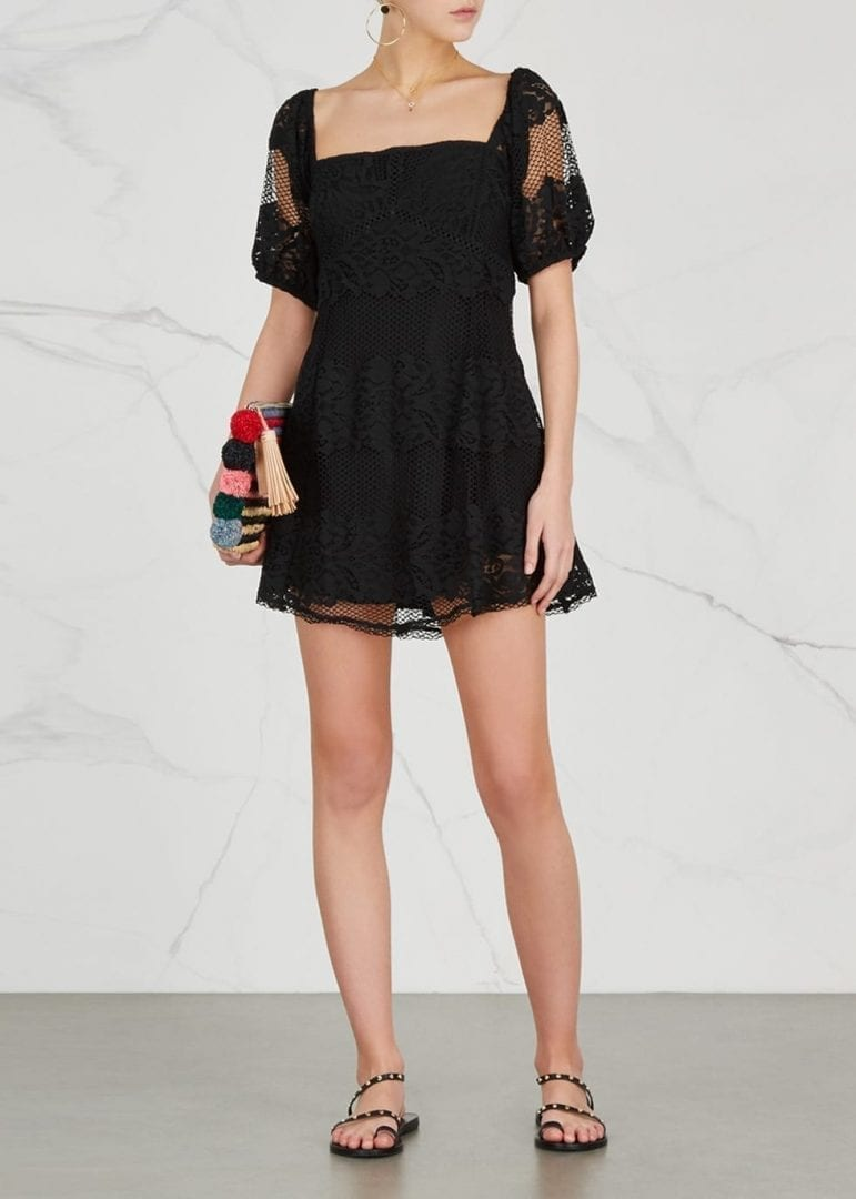 FREE PEOPLE Not Your Baby Lace Mini Black Dress
