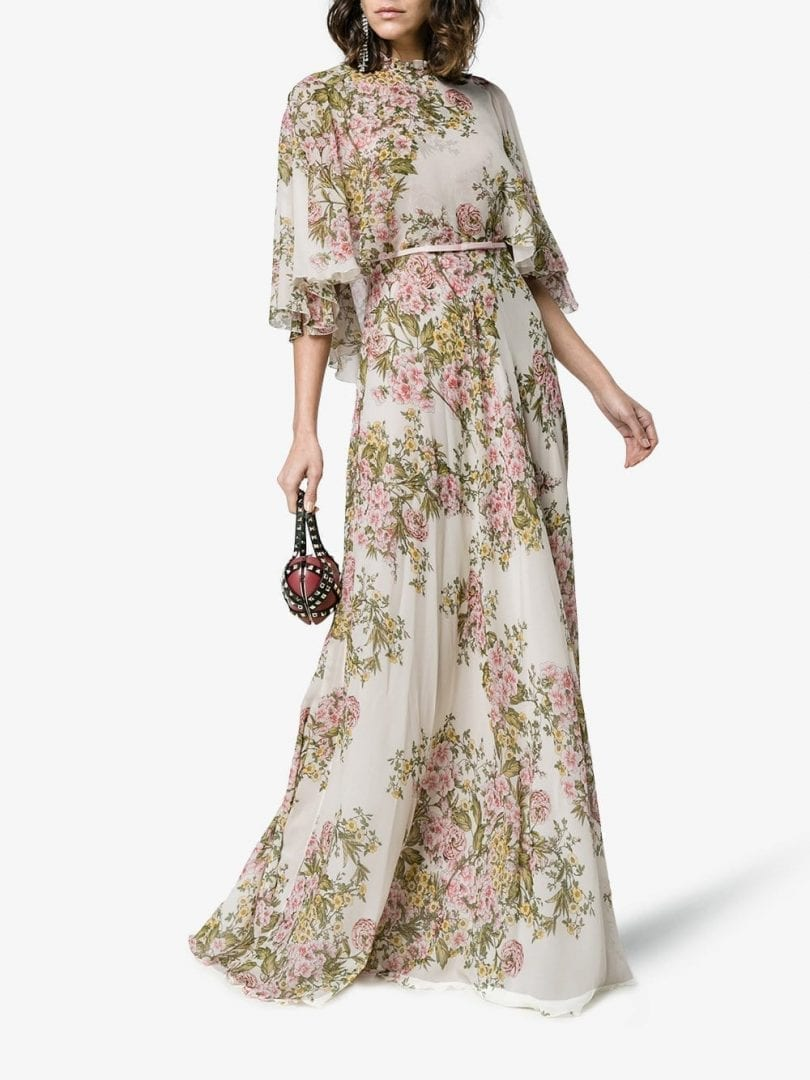 Giambattista Valli Silk Fl Maxi White Dress