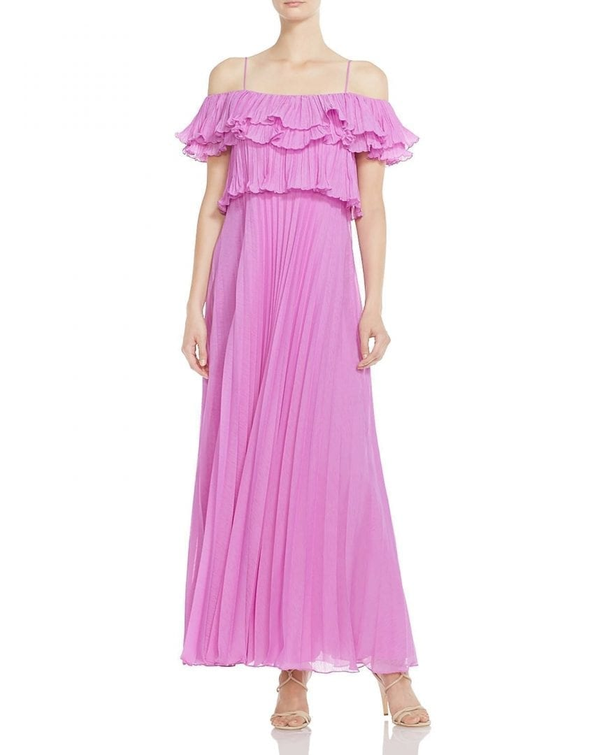 HALSTON HERITAGE Pleated Cold-Shoulder Cattleya Pink Gown - We ...