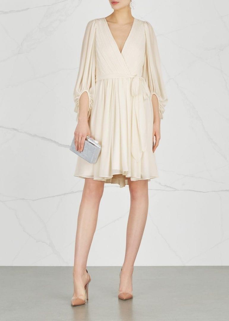 19c4b7349191 HALSTON HERITAGE Plissé Georgette Ivory Dress - We Select Dresses