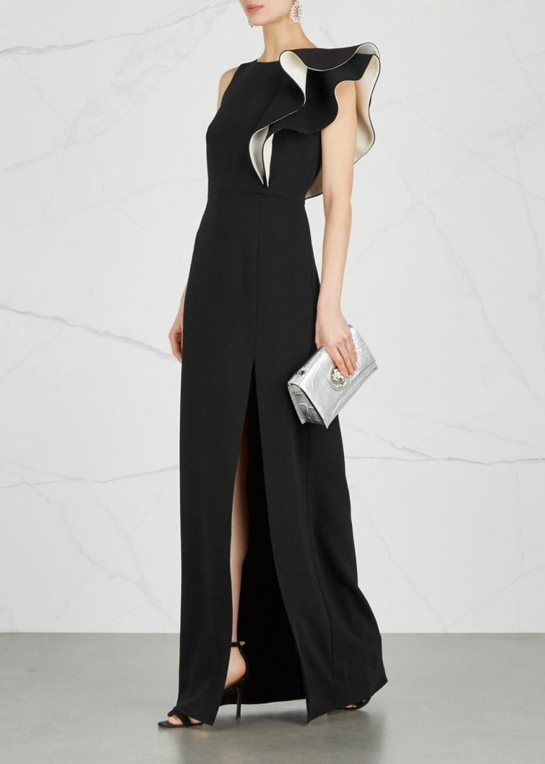 HALSTON HERITAGE Ruffle-Trimmed Black Gown - We Select Dresses