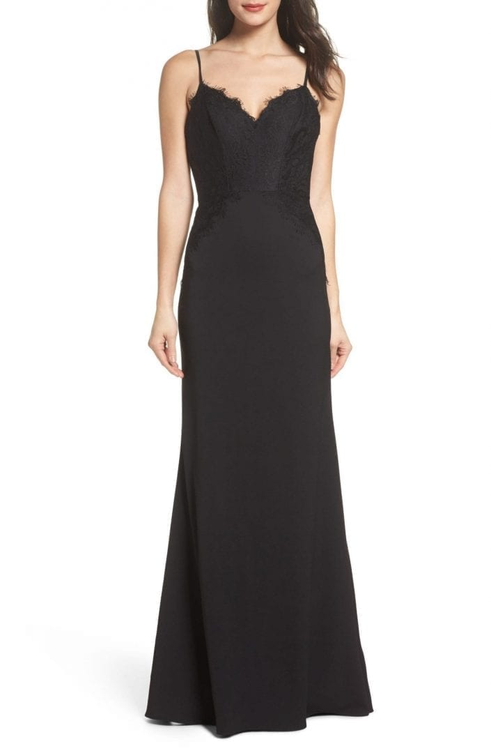 HAYLEY PAIGE OCCASIONS Lace & Crepe Trumpet Black Gown