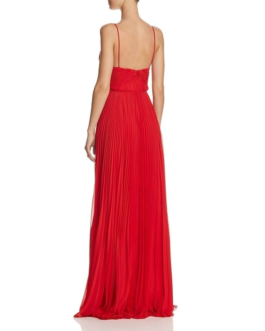 JILL STUART Pleated Deep-V Poppy Red Gown - We Select Dresses