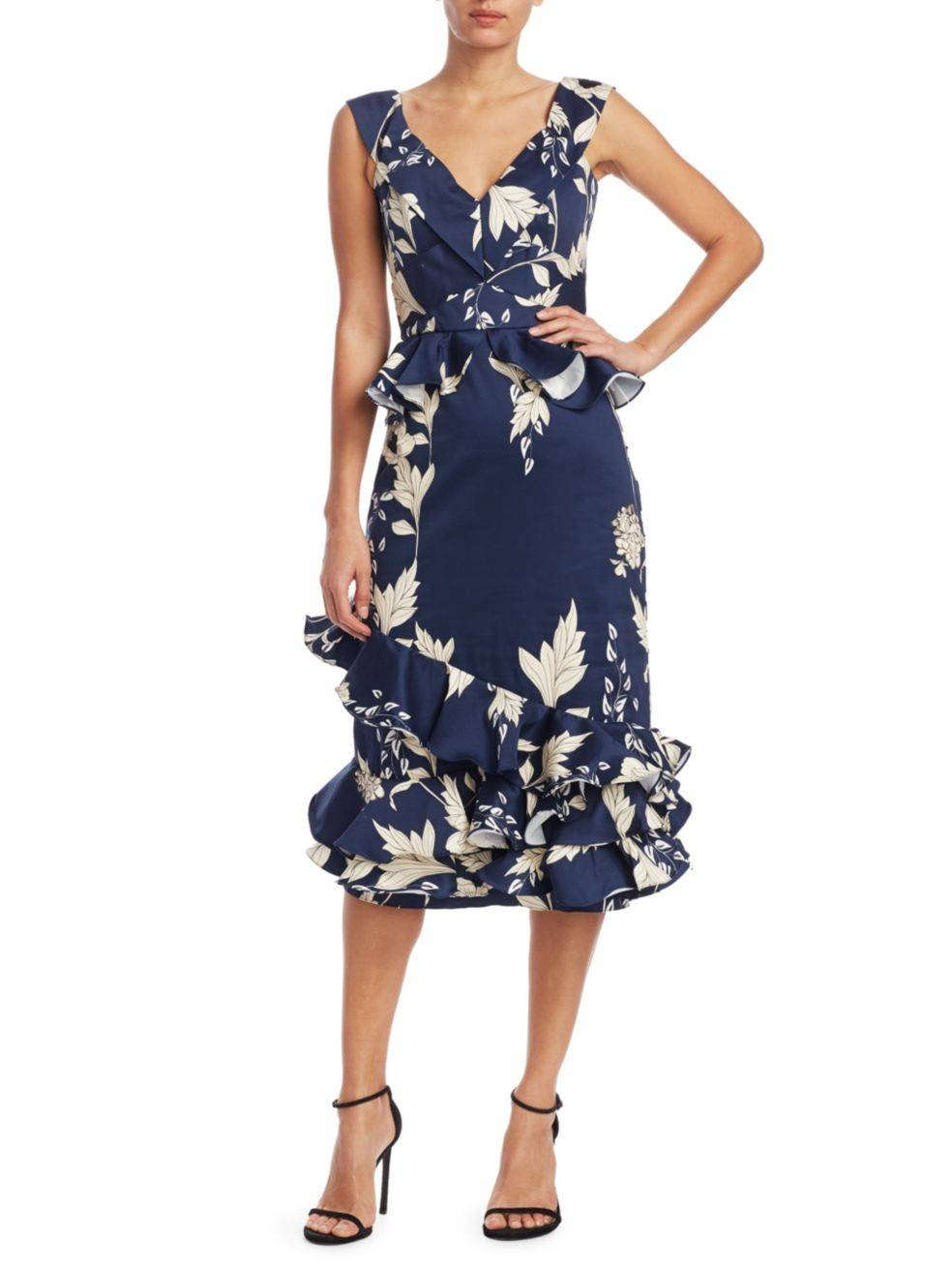 JOHANNA ORTIZ Floral Ruffle-Trim Blue Dress