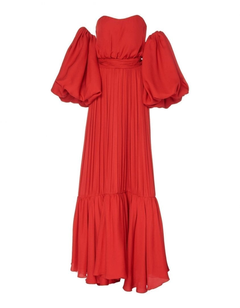 JOHANNA ORTIZ Georgette Señora Maria Rosa Red Dress